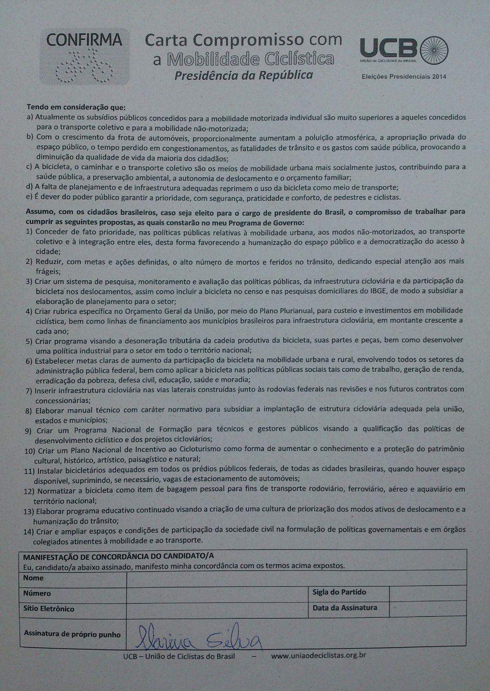 Carta assinada - Marina Silva - 22-09-2014