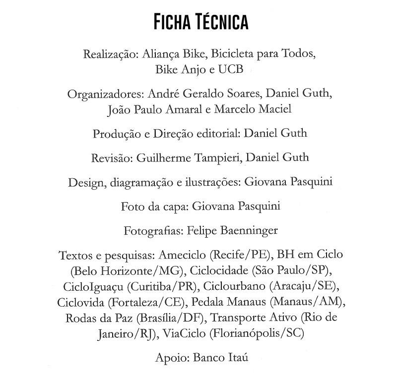Ficha Técnica Livro A bicicleta no Brasil